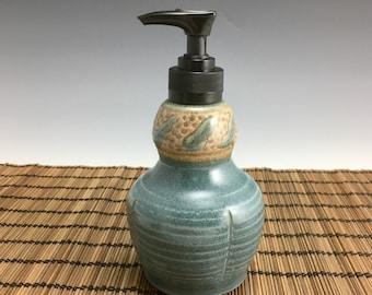 Handmade Soap Dispenser, Lotion Bottle, pump bottle, slate blue with leaves.