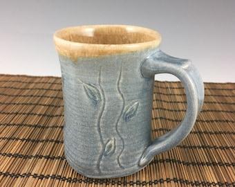 Handmade small pottery mug, ceramic coffee mug, tea mug, slate blue square mug