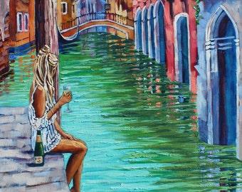 Venice Giclee Canvas Print Enchanting Original Artist Venice Art Colorful Venice Wall Art by Rebecca Beal