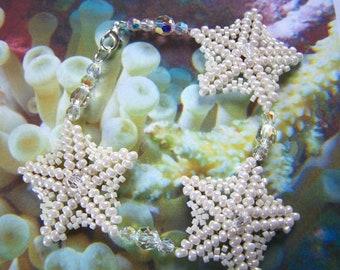 Beaded Starfish Bracelet Bridal Ivory Eggshell