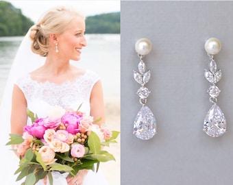 Crystal Pearl Teardrop Bridal Earrings, Marquise Crystal Drop Earrings, White Gold Crystal Wedding Earrings, ASHLEY PP