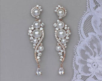 Bridal Earrings, Chandelier Earrings, Rose Gold Earrings, Pearl Wedding Earrings, Pearl Bridal Earrings, TILLY RG
