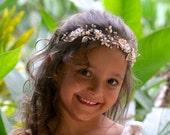 Gold Hair Vine, Blush Bridal Hair Vine, Pearl and Crystal Hairpiece, Silver or Gold Wedding Hair Vine, ZARA