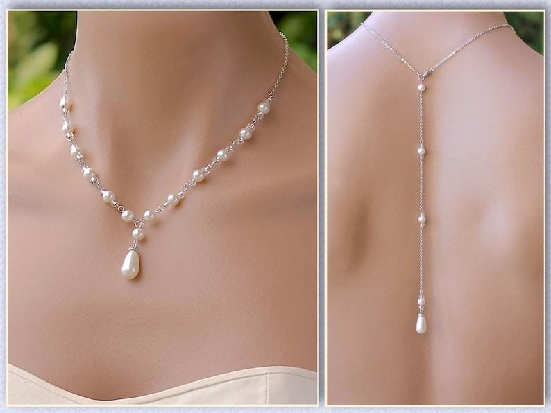 8d76c141d227 Backdrop NecklacePearl Back Drop Necklace Pearl Bridal | Etsy