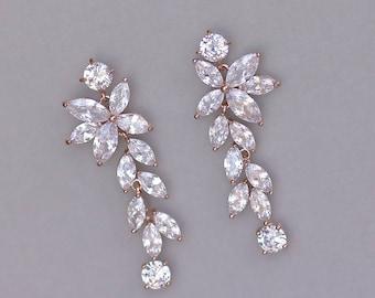 Bridal earrings, Rose Gold Earrings, Chandelier Earrings, Bridal Earrings, MAXIME RG