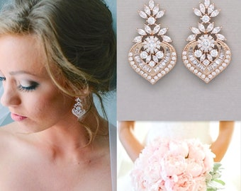 Rose Gold Crystal Bridal Earrings, Marquise CZ Statement Wedding Jewelry Rose Gold,  Taylor RGC