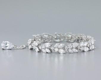 Marquise Crystal Bracelet, White Gold Bridal Bracelet,  Silver CZ Adjustable Wedding Bracelet, CLEO