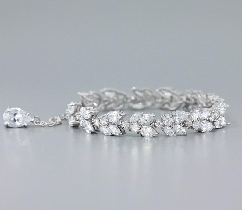 Marquise Crystal Bracelet White Gold Bridal Bracelet  Silver image 0