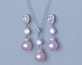 Blush Pearl Wedding Jewelry Set, Pearl Jewelry Set, Pink Bridesmaids Jewelry Set,