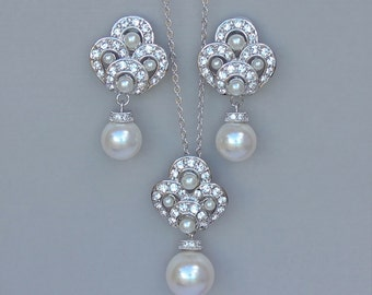 On SALE Pearl Bridal Jewelry Set, Pearl Bridal Set, Wedding Jewelry Set, Pearl Earrings and Necklace Set, MONIQUE II
