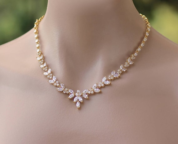 Gold Crystal Necklace Gold Bridal Necklace Gold Crystal  85025b9b9c