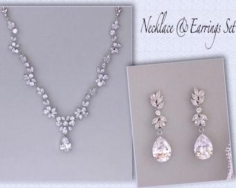 Bridal Jewelry Set, Silver Wedding Necklace Set, Crystal Necklace & Earring Set,  Bridal Jewelry, ASHLEY GC