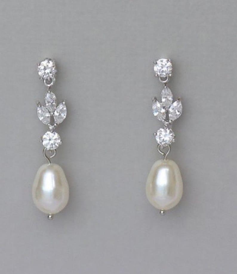 Bridal Earrings Crystal Pearl Earrings Pearl Drop Earrings image 0