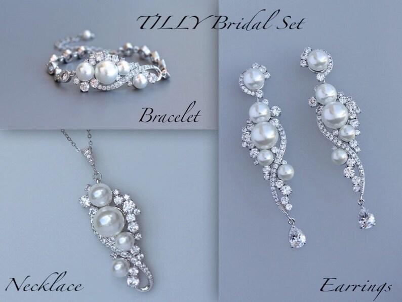 TILLY Earrings Bracelet /& Necklace Set Pearl Wedding Jewelry SET Chandelier Earring Set Pear Bridal Earrings