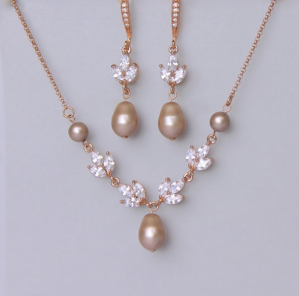 Bridal Jewelry Set Rose Gold Jewelry set Champagne Pearl ...