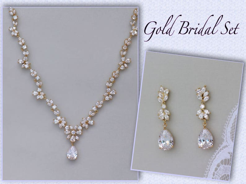 93776b0339286 Gold Bridal Set, Crystal Necklace & Earring Set, Gold, White Gold, Rose  Gold Option, Gold Wedding Necklace, Gold Wedding Jewelry, ASHLEY GC