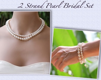 Pearl Necklace & Bracelet SET, Two Strand Pearl Set, Pearl Bridal Jewelry Set, Bracelet and Necklace Set, Wedding Jewelry Set