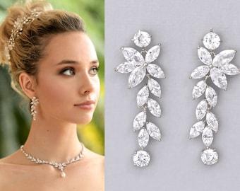 Crystal Chandelier Bridal Earrings, Silver Marquise Long Crystal Earrings,  Maxime