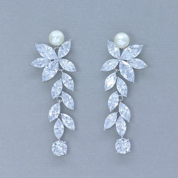 Crystal Bridal Chandelier Earrings, Bridal Chandelier Earrings With Pearls
