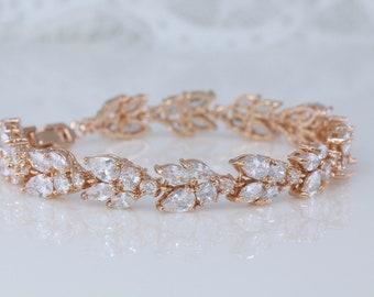 Rose Gold Bridal Bracelet, Crystal Bracelet, Rose Gold Bridal Jewelry, CLEO RG