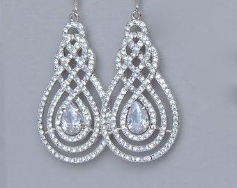 ON SALE Crystal Chandelier Earrings, Pavè Earrings, Crystal Bridal Earrings, Bridal Jewelry, Crystal Wedding Jewelry, SWIRL Silver