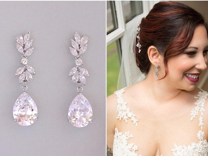 Bridal Earrings Wedding Earrings Crystal Chandelier Bridal image 0