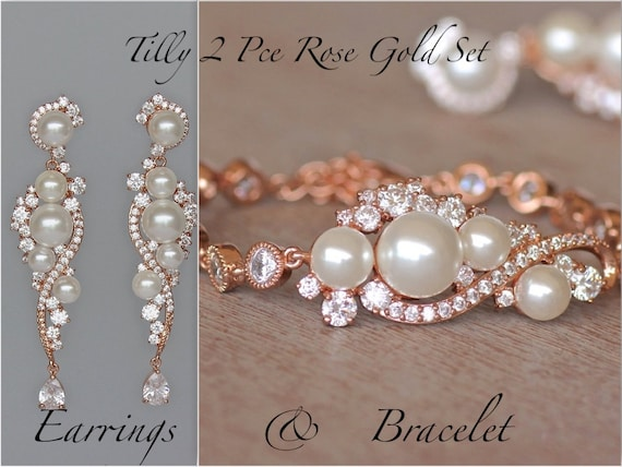 Rose Gold Bridal Set Rose Gold Earrings & Bracelet Set Pearl