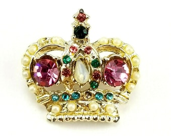 1bbd8fcc5 Vintage Silver Tone Rhinestone Seed Pearl Crown Brooch Pin bt