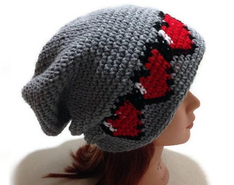 Pixel Heart Hat, Pixel Slouchy Hat, 8 Bit Heart Hat, Pixel Gamer Hat, Health Bar Hat, Retro Video Game Hat, Gifts for Gamers, Geeky Hat