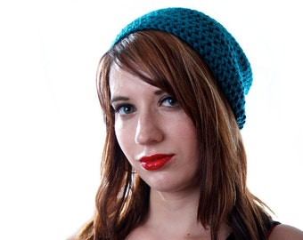 Teal Slouchy Beanie Unisex Slouchy Hat Teal Winter Beanie Hats for Women  Hats for Men Hipster Beanie Teal Crochet Hat Slouchy Beanie b897176ab750