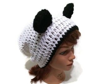 Black Dog Hat Puppy Hat Slouchy Dog Hat Dog Ears Beanie  337b52e37e9