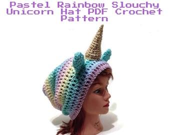 Crochet Unicorn Hat Pattern, Slouchy Unicorn Hat Pattern, Unicorn Crochet Pattern, DIY Halloween Costumes, Unicorn Hat Crochet Pattern