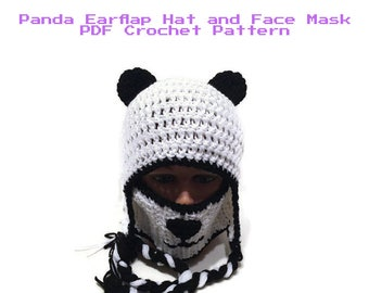 4b938748b4c599 Panda Hat and Face Mask Pattern, Panda Hat Pattern, DIY Halloween Costumes,  Crochet Pattern Hat, Kawaii Hat Pattern, PDF Crochet Pattern