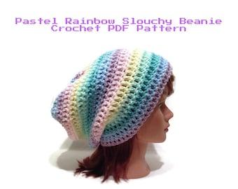 Crochet Pattern, Pastel Hat Pattern, Slouchy Hat Pattern, Rainbow Crochet Pattern, Crochet PDF Pattern, Rainbow Hat Crochet Pattern, Pride