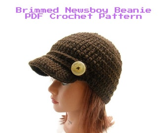 Newsboy Hat Pattern, Easy Crochet Pattern, Crochet Pattern Hat, Brimmed Hat Pattern, PDF Crochet Pattern, Instant Download, Brimmed Newsboy