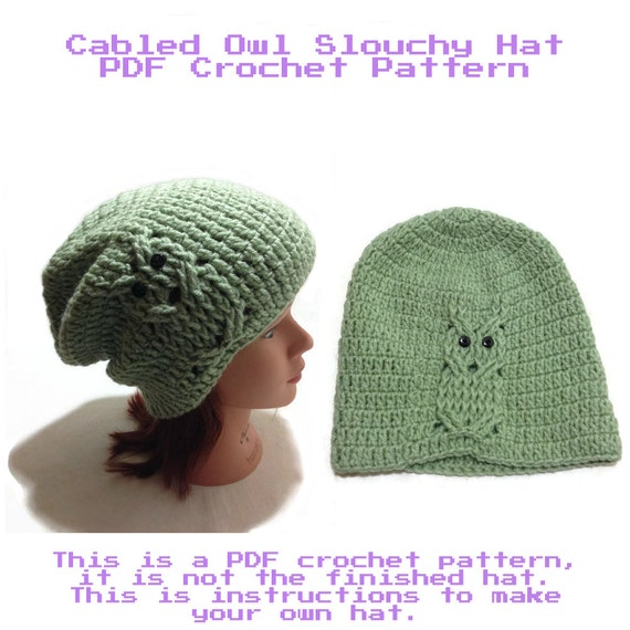 Crochet Owl Hat Pattern Crochet Hat Pattern Instant Download Etsy