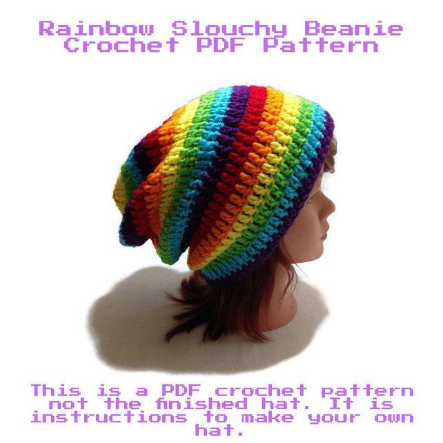 Rainbow Hat Crochet Pattern Crochet Pattern For Beginners Etsy