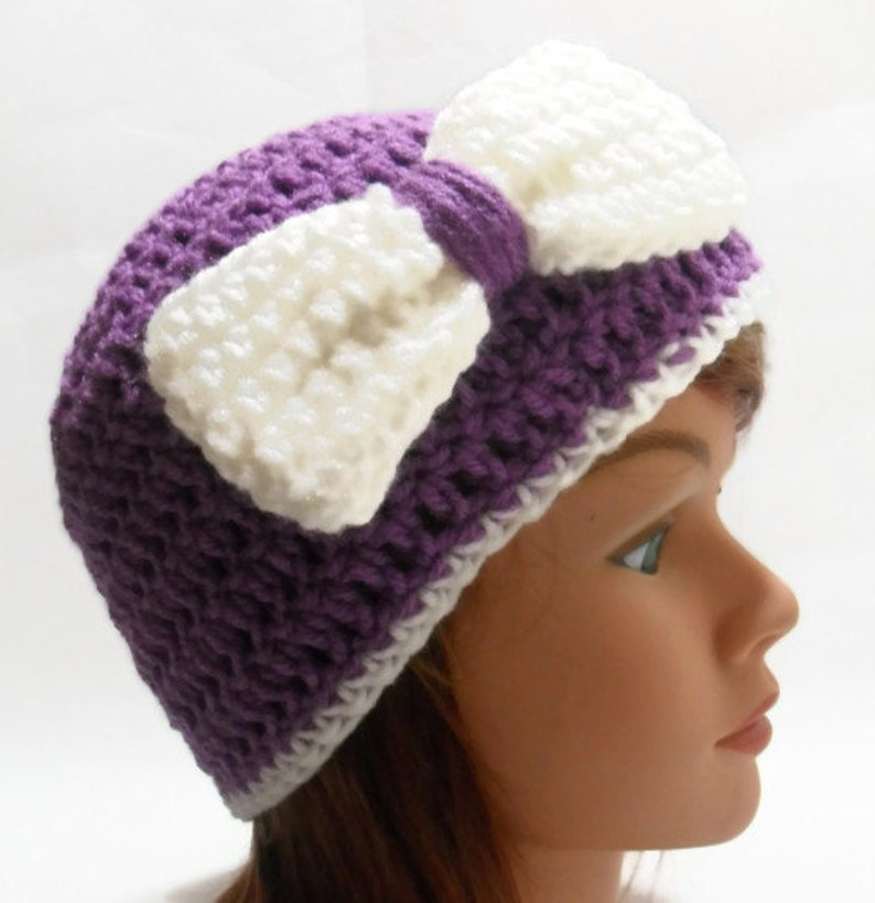 Holiday Gift Purple Bow Beanie Crochet Womens Hat Purple Cloche Hat with Bow Cloche with Bow Purple Bow Hat Summer Beanie