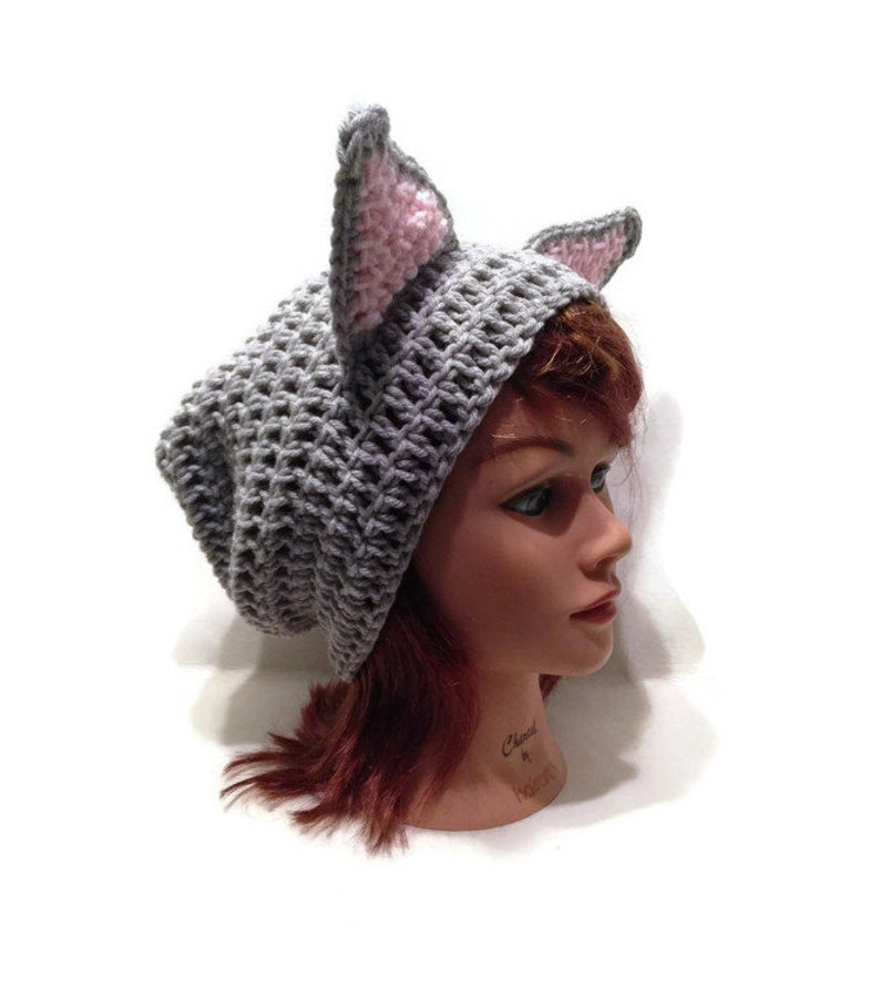 e227deb09ec Grey Cat Hat Slouchy Cat Beanie Grey Kitty Ears Hat with