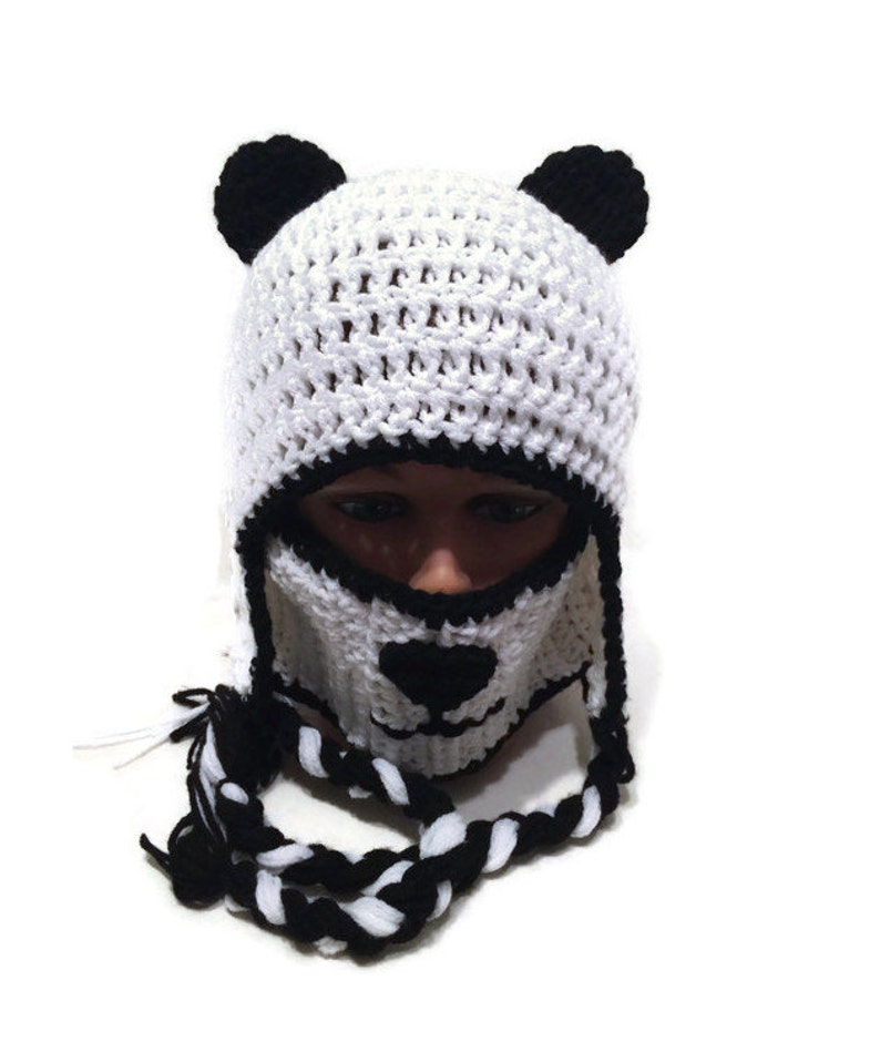 e882300b166569 Panda Hat Panda Bear Face Mask and Ear Flap Winter Hat Novelty | Etsy