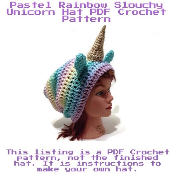Crochet Unicorn Hat Pattern Slouchy Unicorn Hat Pattern   Etsy
