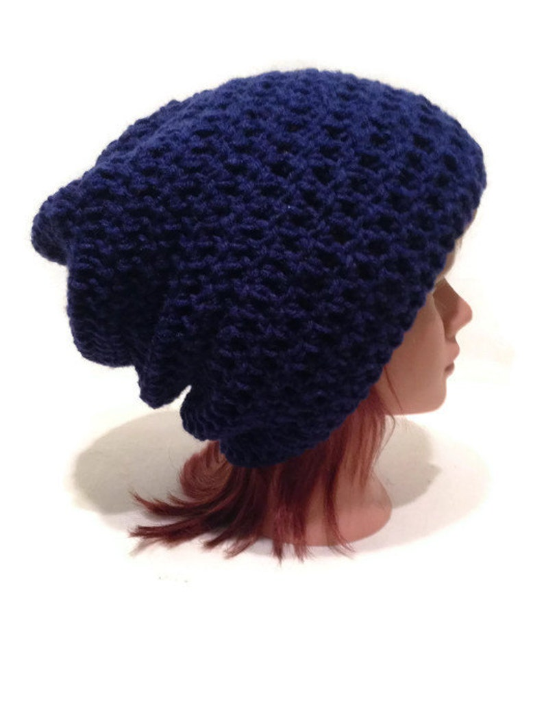 Navy Blue Hat Unisex Slouchy Hat Crochet Slouchy Hat Blue Etsy
