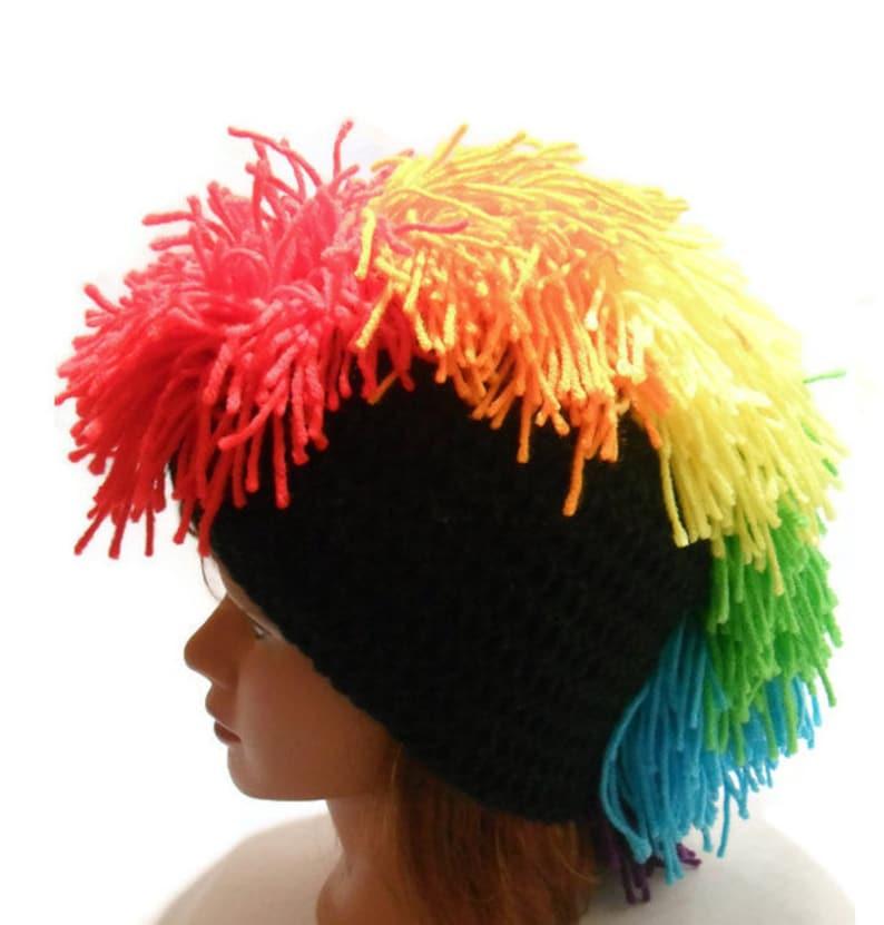 82eae57e8c4 Rainbow Mohawk Beanie Rainbow Mohawk Hat Crochet MoHawk Hat