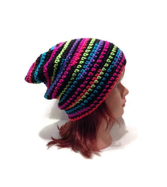 b2ea5631609 Neon Hat Black Light Hat Neon Rainbow Hat Striped Slouchy