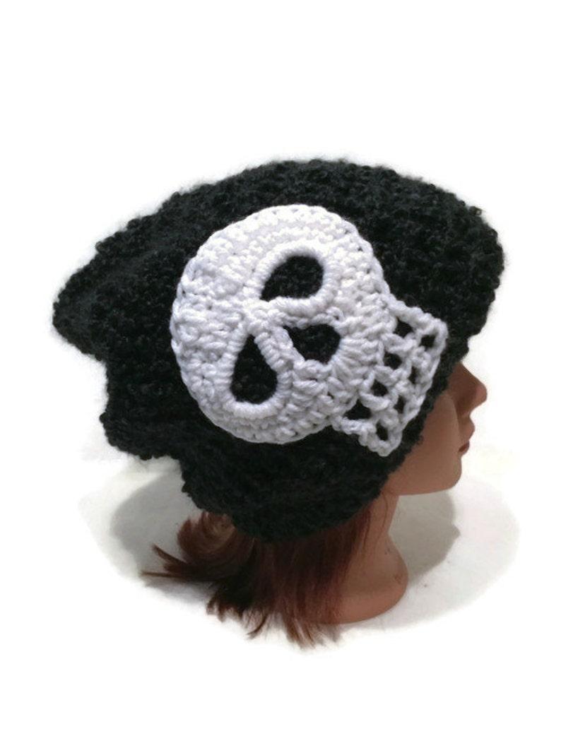 abae746df91 Black Skull Hat Unisex Black Hat White Skull Hat Halloween