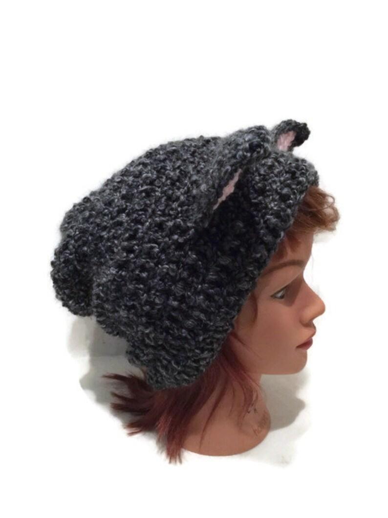 56fbe2f2e50 Grey Cat Hat Slouchy Cat Hat Black Kitty Ears Fuzzy Cat