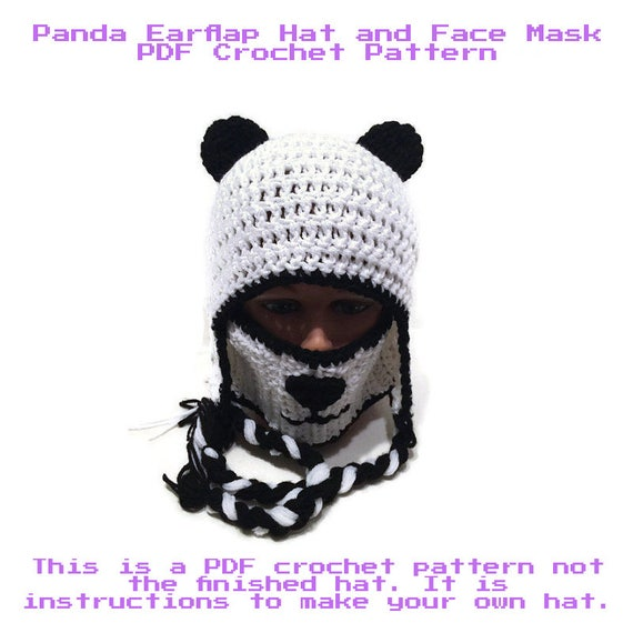 Panda Hat and Face Mask Pattern Panda Hat Pattern DIY | Etsy