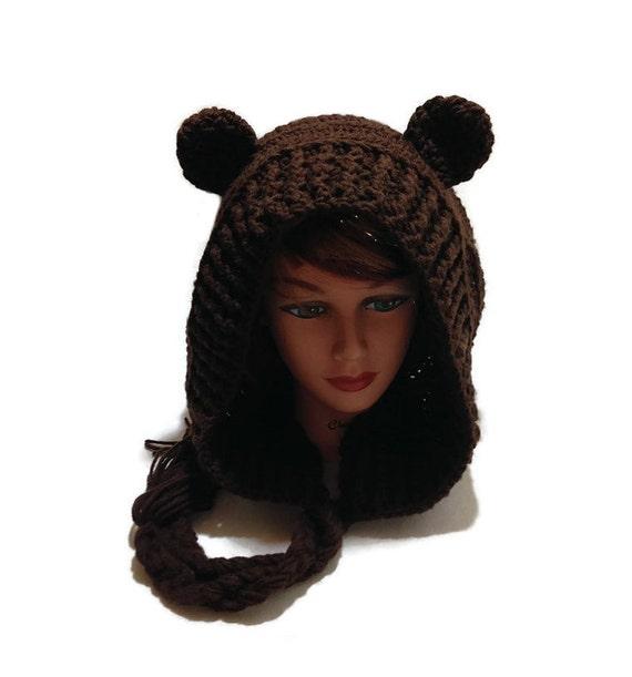 9ed29136be7 Brown Bear Hood Bear Cosplay Festival Hoods Crochet Bear