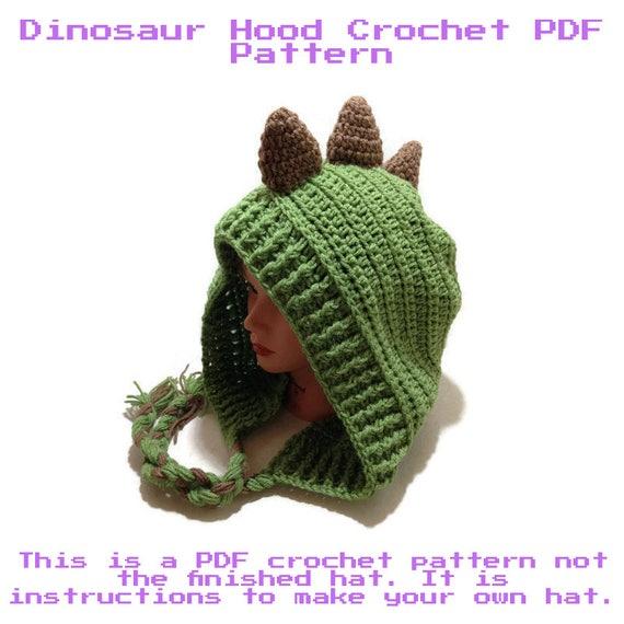 Crochet Dinosaur Pattern Dinosaur Hood Pattern Dino Hat Etsy