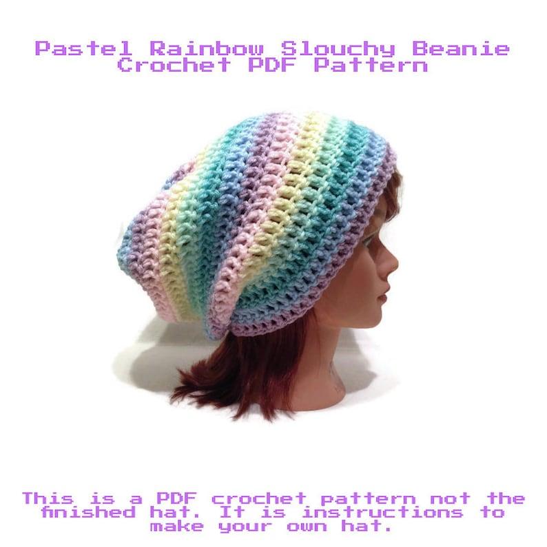 b446535d8fa Crochet Pattern Pastel Hat Pattern Slouchy Hat Pattern